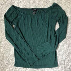 FOREVER 21 dark green off-the-shoulder top
